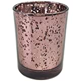 Just Artifacts (Bulk) Mercury Glass Votive Candle Holder 2.75''H (100pcs, Speckled Marsala) - Mercury Glass Votive Tealight Candle Holders for Weddings, Parties and Home Décor