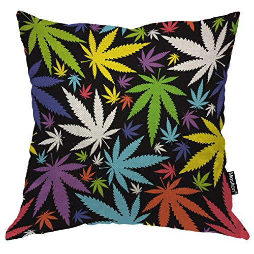 Moslion Throw Pillow Cover Leaves 18x18 Inch Marijuana Weed