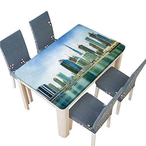PINAFORE Indoor/Outdoor Spillproof Tablecloth Panorama of Modern Skyscrapers
