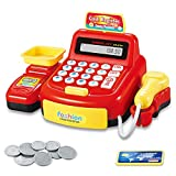 Womdee Cash Register Toy Set, Kids Pretend & Play Calculator, Educational Toy Cash Register with Scanner, Weighing Platform, Coins, Credit Card and Calculator for Kids, Toddlers & Preschoolers