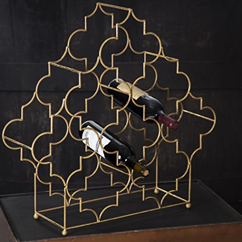 Elegant Modular 4 Tier Wine Rack, Wine Storage, Free-Standing Wine Bottle Display, 24inches High Antique Gold Metallic Holder, Holds 8 - 32 Bottles of Your Favorite Wines by Le'raze