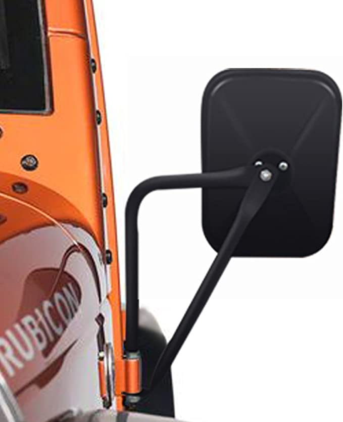 Door Off Side Rear View Mirror for 1997-2017 Jeep Wrangler JK JKU CJ YJ Rectangular Off Road Barricade Adventure Mirrors