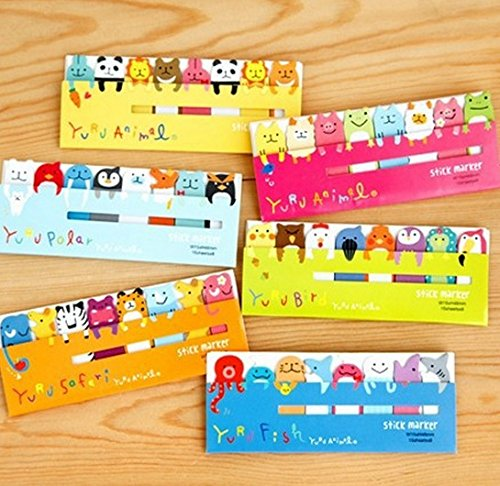 DoDoo Set of 4 Lovely Cute Cartoon Animal Frog Bear Dolphin Sticky Notes Memo Note Pads Page Flag Markers Bookmarks(4 booklets each with 8 pads,15 Sheets each)