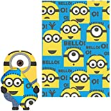 "Despicable Me Minions Fleece Throw Blanket and 12"" Cuddle Plush Toy - Kids"
