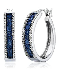 Sterling Silver Blue and White Diamond Hoop Earrings (1/10 cttw)
