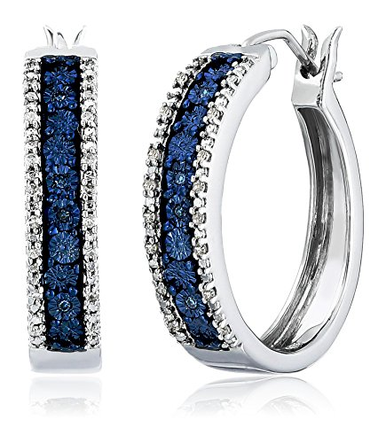 Sterling Silver Blue and White Diamond Hoop Earrings (1/10 cttw) by Amazon Collection