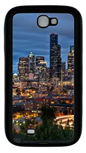 Downtown Seattle TPU Rubber Soft Case Cover For Samsung Galaxy Note 2 / Note II/ N7100 - Black