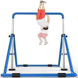 Barra de gimnasia para niños, gimnasio expandible Barra de gimnasia horizontal plegable Entrenamiento para jóvenes principiantes de gimnasta, entrenamiento en casa de altura ajustable, entrenamiento: Amazon.es: Hogar