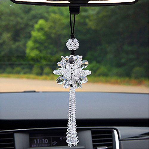 Crystal Decorations Angela_max Women's Car Interior Rearview Mirror Hanging Ornaments Lucky Shinning Crystal Peony Charm Pendant Hangings (Meaning Peony)