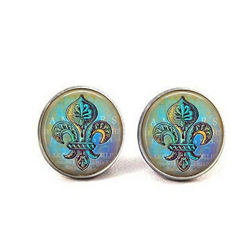 Blue Fleur De Lis - Blue and Green Fleur de Lis Earrings - Blue Hues - New Orleans Earrings - Verdigris Jewelry