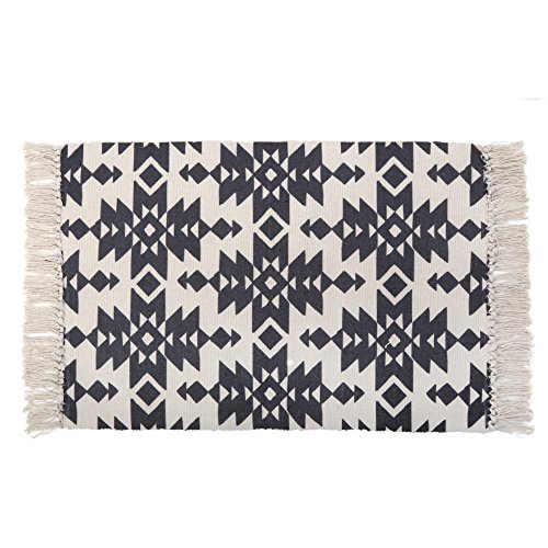 KIMODE Moroccan Cotton Area Rug 2' x 3', Hand Woven Chic Diamond Print Tassels Throw Rugs Door Mat with Non-Slip Pads, Indoor Area Rugs for Bathroom,Bedroom,Living Room,Laundry Room