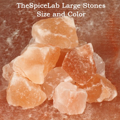 "The Spice Lab Himalayan Pink ""Salt Stones"" - Original Crystal Gourmet Pure Crystal - Nutrient and Mineral Fortified for Health - Kosher and Natural Certified Food Grade (Large 1""x2"")"