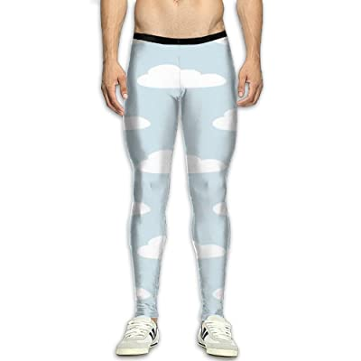 MSYGP Cute Cloud Compression Pants Men Colorful Tights Leggings Athletic Gym Tights For Men