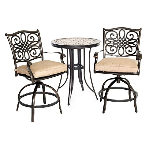 Hanover Monaco Collection 3-Piece Bistro Set Bronze/Tan MONDN3PCSW-BR