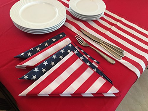 Mixed Stripe Table - lovemyfabric 4th of July Solid Table Linen Set with 1 Solid Polyester Tablecloth, 8 Mixed Cotton Napkins and 1 Poly Cotton Runner (Navy Blue Stripes)