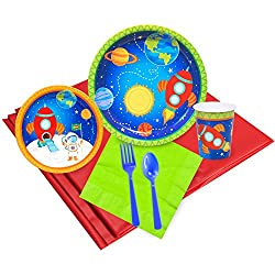 BirthdayExpress Solar System Rocket to Space Astronaut Party Supplies - Party Pack for 24