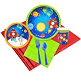 BirthdayExpress Solar System Rocket to Space Astronaut Party Supplies - Party Pack for 8
