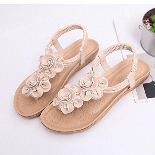 Inkach Womens Wedges Flat Sandals - Fashion Summer Flower Flip-Flops Sandals Ankle Wrap Shoes Beige ynJtY53WdX