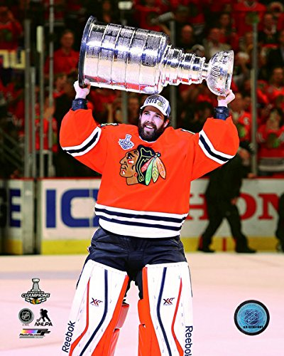 """Corey Crawford with the Stanley Cup® Game 6 of the 2015 Stanley Cup® Finals (Size: 8"""" x 10"""")"""