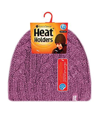 Heat Holders - Women's Thermal Fleece Cable Knit Winter Hat 3.4 Tog - One Size (Rose) (Heat Holders Thermal Hat compare prices)