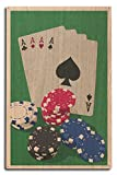 Poker Cards and Chips - Letterpress (10x15 Wood Wall Sign, Wall Decor Ready to Hang)