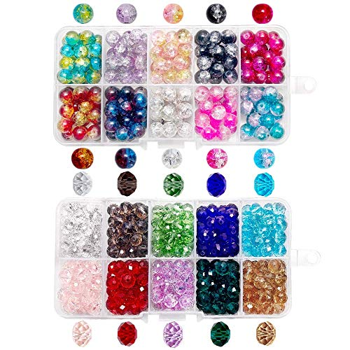 QUEFE 400pcs Crystal Glass Beads Including 200pcs 8 x 6mm Faceted Crystal Glass Beads and 200pcs 8mm Crackle Lampwork Glass Round Beads for Bracelets, Necklaces and Other Jewelry Making (2 Box)