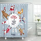 Best Planet Dog Dog Whistles - Emvency Shower Curtain Red Funny Christmas Planet Merry Review