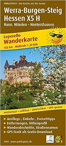 Wanderkarte Werra Burgen Steig Hessen X5 H Hann Munden