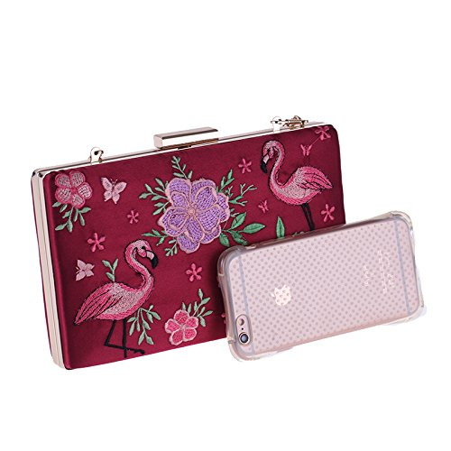 Formal Clutch Satin Missfiona Handbag Womens Evening Flamingo Embroidered Flower Royal xTqqSwF0