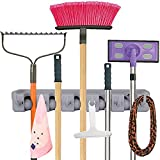 Anybest Mop Broom Holder, Garden Tool Organizer maximum tool diameter 1.28 inches, 5 slots 6 small hooks garage storage Holds up to 11 Tools(Gray)