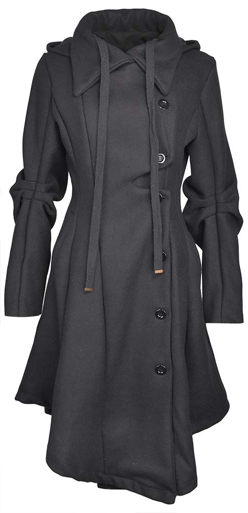 QZUnique Women's Long Personality Collar Outwear Slim Trench Coat Black US 12-14 by QZUnique