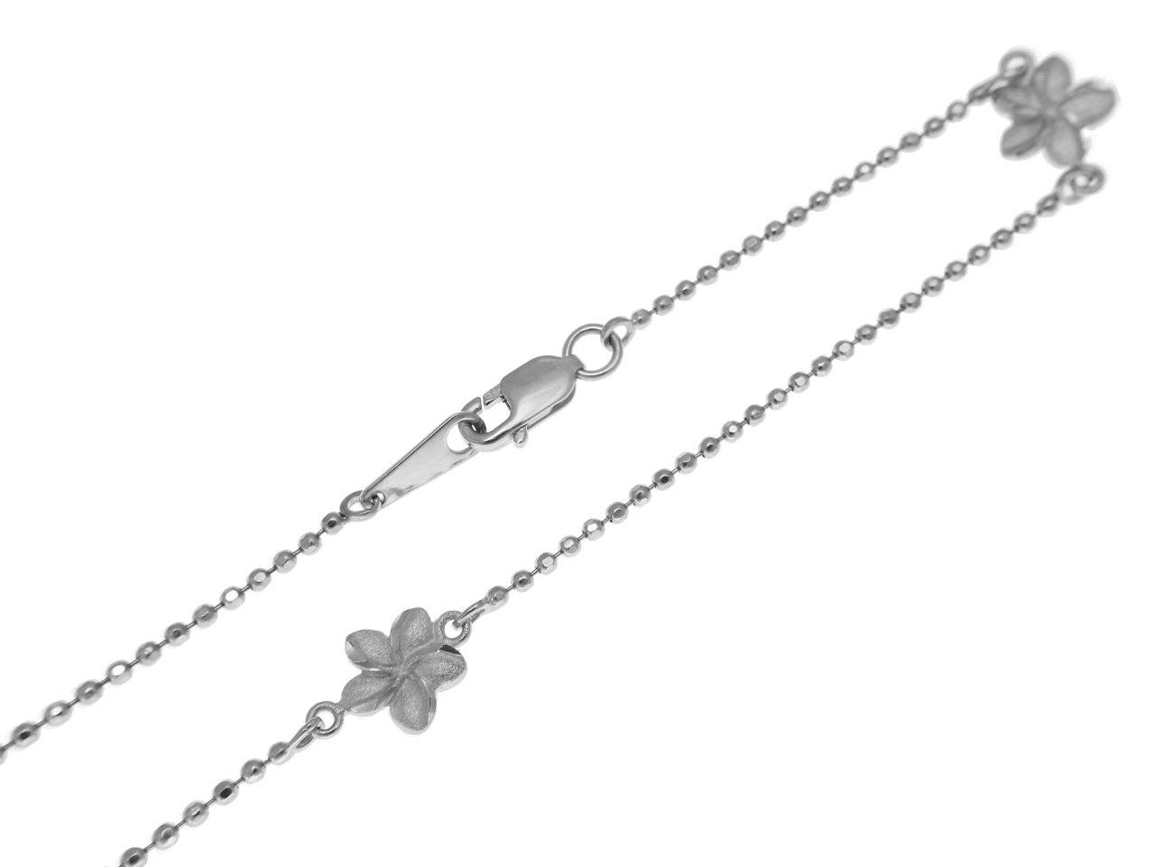 14k solid white gold 2 sided Hawaiian plumeria diamond cut bead chain anklet 9''