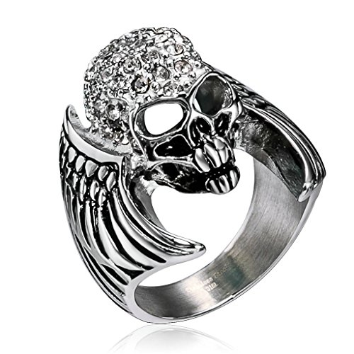 Men's Stainless Steels Rings Gothic Biker CZ Round Crystal Skull Bat Wings Evil Silver,Size (Pillowcase Knight Costume)