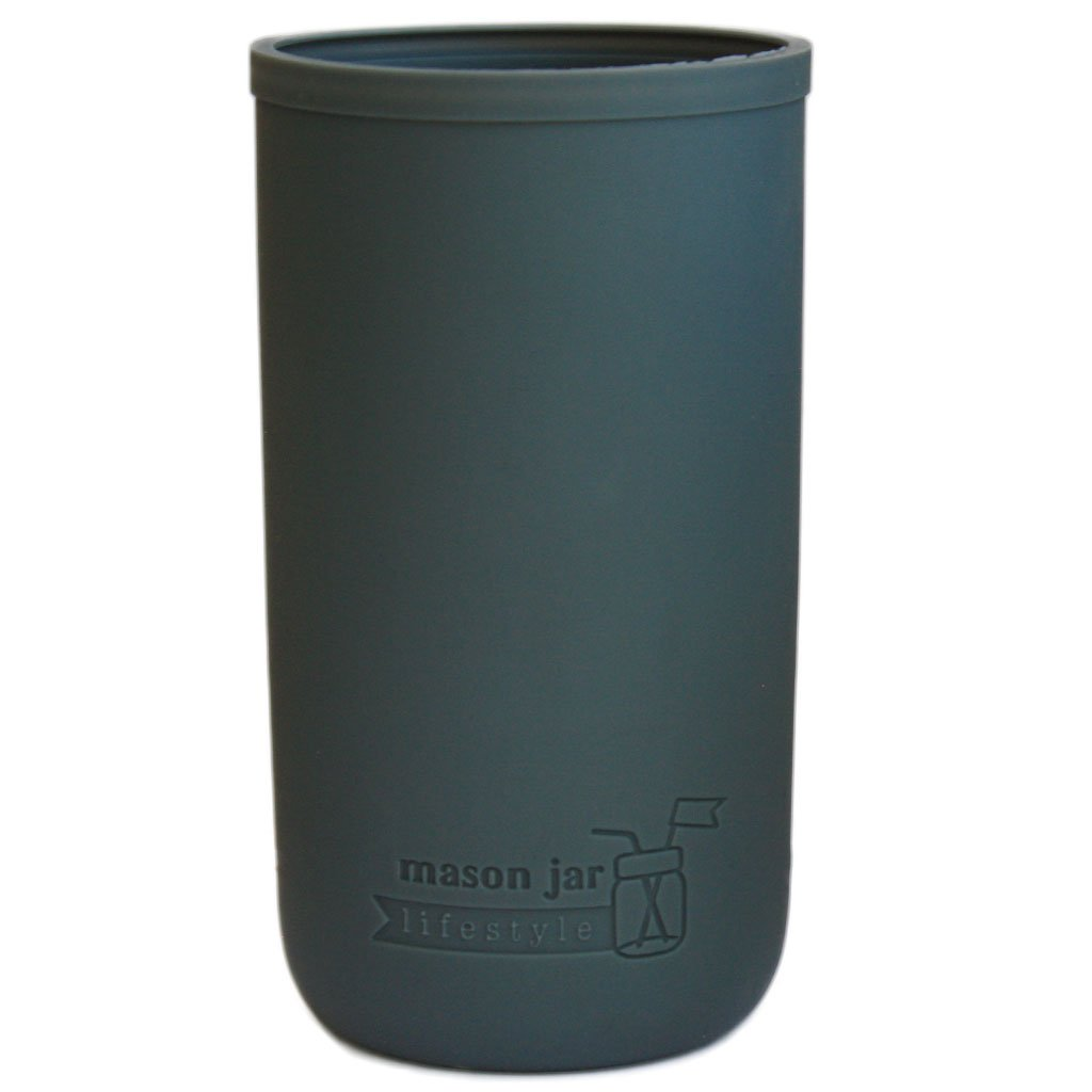 MJL Pint & Half Silicone Sleeve for Ball Mason Jars (Charcoal Gray, 2 Pack)