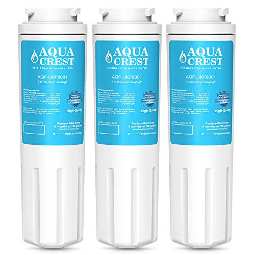 Price comparison product image AquaCrest UKF8001 Refrigerator Water Filter Replacement for Maytag UKF8001 UKF8001AXX UKF8001P,  PUR Jenn-Air UKF8001,  EDR4RXD1,  Whirlpool 4396395,  EveryDrop Filter 4,  Puriclean II,  469006 (Pack of 3)