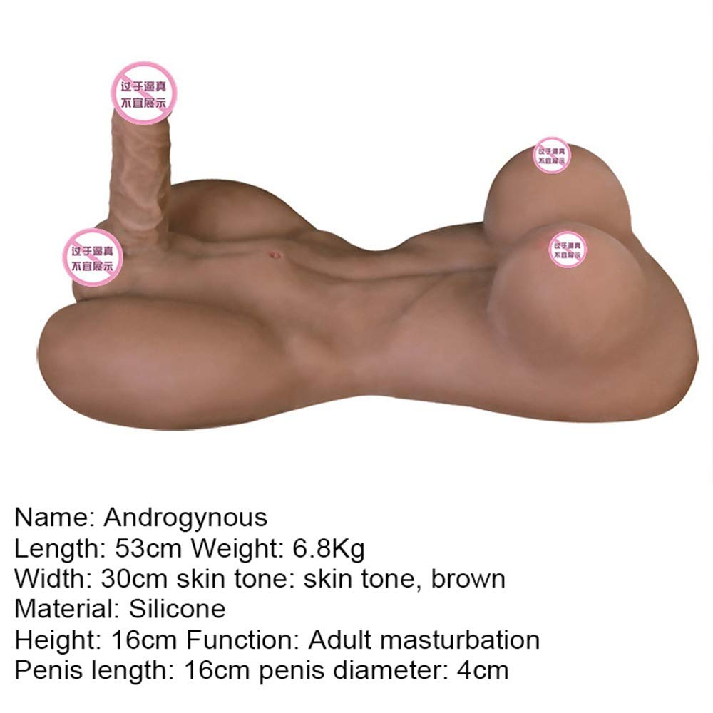 CLQ Sex Toys Realistic 3D Silicone Male Body Realistic Love Doll with Lifelike Torso Entry Sex Toys Doll with Big Dildo for Female Women Anal Sex Toys Clitoral (Color : Brown)