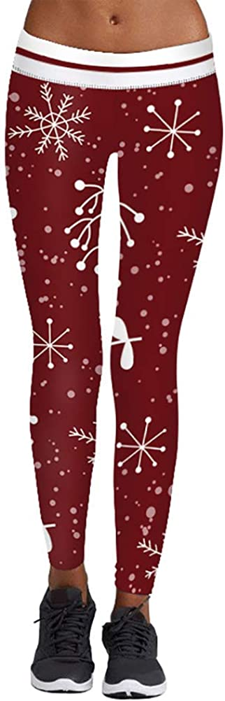 YAXAN Womens Christmas Digital Print High Waist Ankle Length Skinny Yoga Leggings Tights Color : BFY004, Size : L