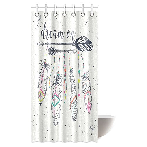 InterestPrint Boho Style Shower Curtain, American Indian Motifs Tribal Frame with Ethnic Arrows and Feathers Fabric Bathroom Shower Curtain with Hooks, 36 X 72 Inches