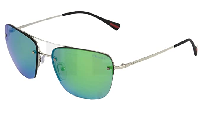 Amazon.com: Prada anteojos de sol ps52rs Plata W/luz verde ...
