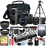 Canon EOS Rebel T6i Digital SLR Camera with EF-S 18-55mm f/3.5-5.6 + EF 75-300mm f/4-5.6 III Dual Lens Kit + 500mm Preset f/8 Telephoto Lens + 0.43x Wide Angle, 2.2X Pro Bundle