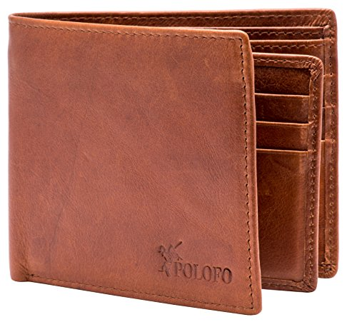 RFID Blocking Genuine Leather Bifold Wallet for Men with Zipper and 2 ID (Bi Fold Screen Print Wallet)