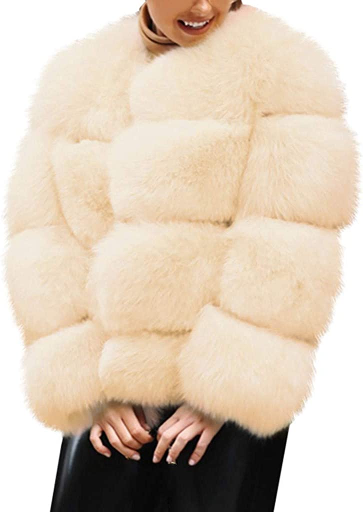 SamojoyFurry Womens Fleece Sherpa Moto Jacket Short Open Front Fuzzy Oversized Fluffy Coat Warm Winter Outwear Overcoat