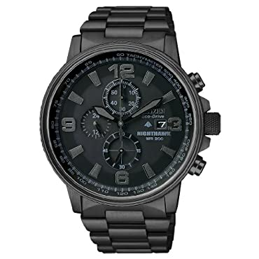 Mens Watch Citizen CA0295-58E Nighthawk Black Stainless Steel NightHawk Eco-Driv