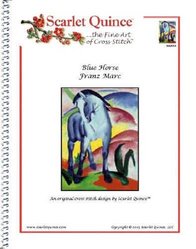 Scarlet Quince MAR002 Blue Horse by Franz Marc Counted Cross Stitch Chart, Regular Size Symbols