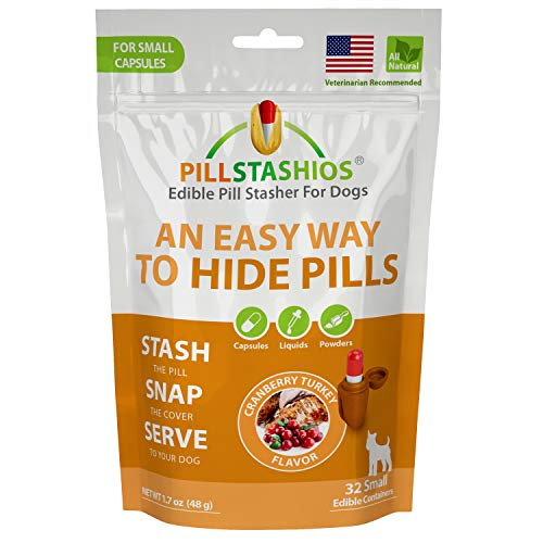 (PillStashios - Pill Treat Pockets for Dogs, Easy Pill-Masker for Liquid, Powder and Capsule Medicine, Grain-Free, Gluten Free, Soy Free Pill Pouch in Cranberry Turkey Flavor, Large)