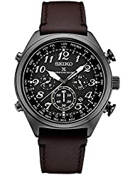 Seiko Mens Prospex Radio Sync Solar Black Leather Strap Watch