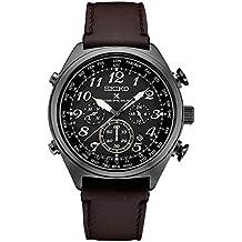 Seiko Men's Prospex Radio Sync Solar Black Leather Strap Watch