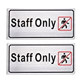2-Pack of Employees Only Signs - Authorized Personnel Only Signs, Staff Only Caution Signs for Business, Professional Use, Silver - 7.87 x 3.6 Inches