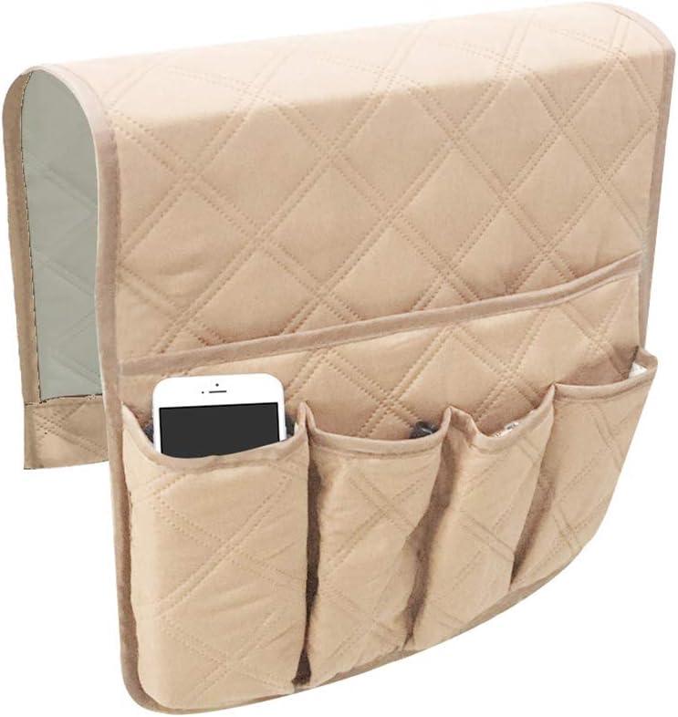 Organizer da bracciolo da appendere iPad telecomandi Mallalah con tasche per telefoni beige riviste adatto per poltrone e divani libri