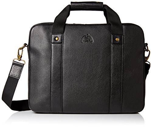 Dopp Men's Soho Leather Slim Laptop Briefcase, Black (Black Leather Soho)